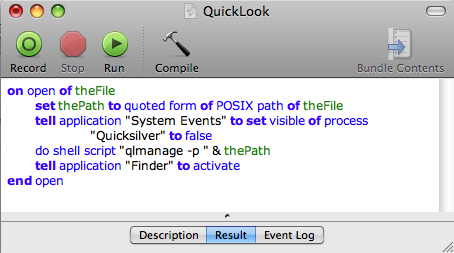 An AppleScript-based Quick Look Action for Quicksilver.