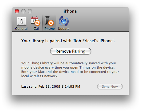 Things iPhone sync preferences