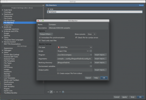 Setting up a File Watcher for Compass in WebStorm.