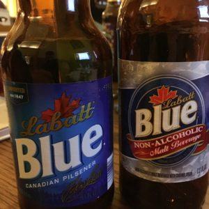 "Labatt Blue vs. Non-Alcoholic Labatt Blue (""...with caramel color added"")"