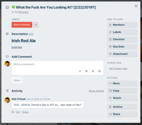 An Irish Red Ale for St. Patrick's Day. Move a lot of the notes out of Trello and into Evernote and BeerSmith already.