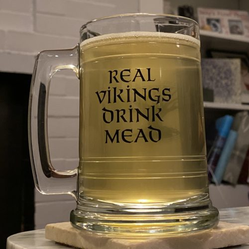 Evil Clone (Mk. V) is a ginger mead in a handsome glass tankard